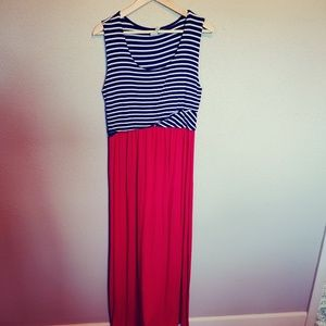 Espresso Dress Red White and Blue  Stripe Maxi